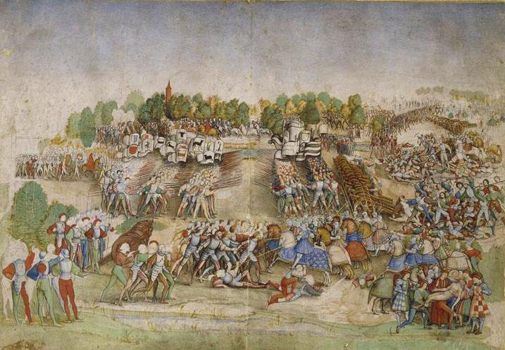 Bataille de Marignan, enluminure attribuée au Maître à la Ratière