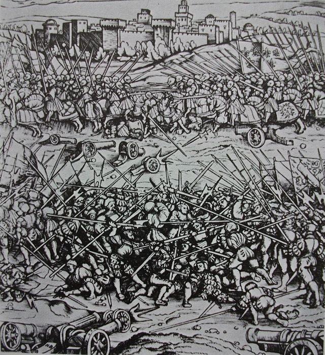 La bataille de Ravenne, gravure allemande, auteur inconnu.