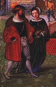 """Simon Bening - April"" by Simon Bening (circa 1483/1484–1561) - München, StB, cod. lat. 23638, fol. 5v. Licensed under Public Domain via Wikimedia Commons"