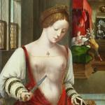 ouverte avec laçage sur l'avant - Ambrosius Benson (v. 1500-1550), Suicide de Lucrèce, s.d.. Lieu de conservation (?). Exemple de cotte fermée (rouge) par laçage sur l'avant, à laquelle sont attachées des manches blanches, plissées sur l'avant-bras. Intéressant aussi pour la coiffure à tresse sur laquelle sera porté le chaperon.